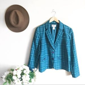 Pendleton Vintage Teal Plaid Two Button Blazer